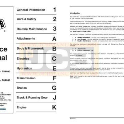 JCB JS130, JS160 Tracked Excavator Service Repair Manual