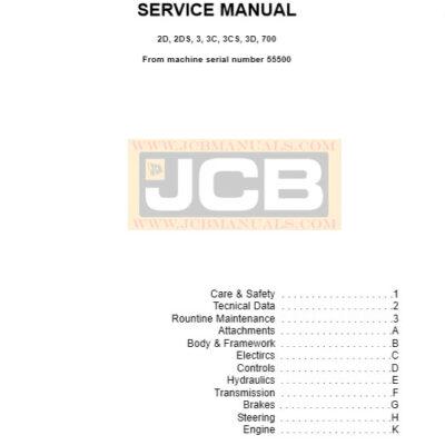 JCB 2D 2DS 3 3C 3CS 3D 700 Backhoe Loader Service Repair Manual