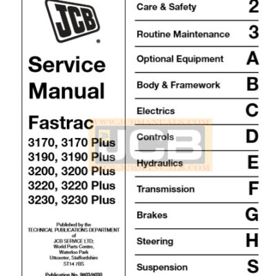 JCB Fastrac 3170 Plus TO 3230 Plus Service Repair Manual
