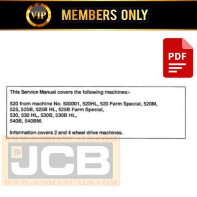 JCB 520 TO 540 Loadall Range Service Repair Manual