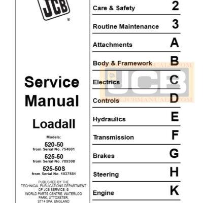 JCB Loadall Series 520-50, 525-50, 525-50s Loadall Service Repair Manual
