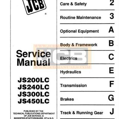 JCB JS200LC, JS240LC, JS300LC, JS450LC Excavator Service Repair Manual