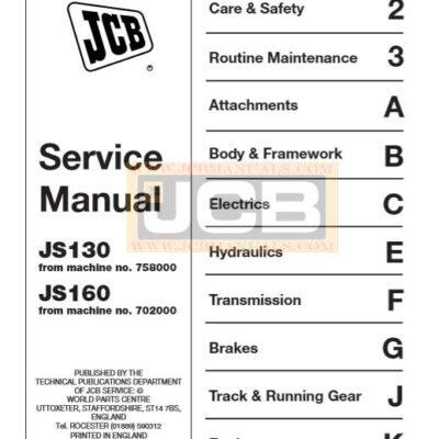 JCB JS130, JS160 Excavator Service Repair Manual