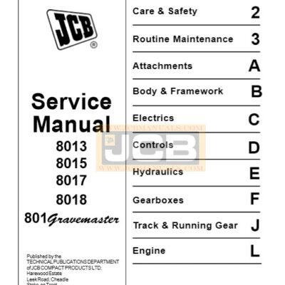 JCB 8013 8015 8017 8018 Mini Excavator Service Repair Manual