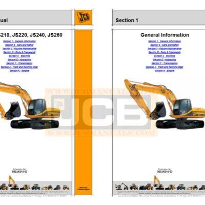 JCB Excavator JS200, JS210, JS220, JS240, JS260 Service Repair Manual