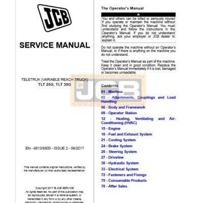 JCB Tele Truck TLT25G, TLT 30G Service Repair Manual