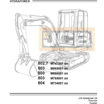 JCB Mini Excavator 802.7,  803,  804 Service Repair Manual
