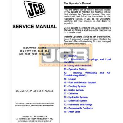 JCB Skidsteer 225, 225T, 260, 260T, 280, 300, 300T, 320T, 325T, 330 Service Repair Manual