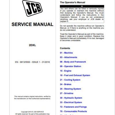 JCB Backhoe Loader 2DXL Service Repair Manual