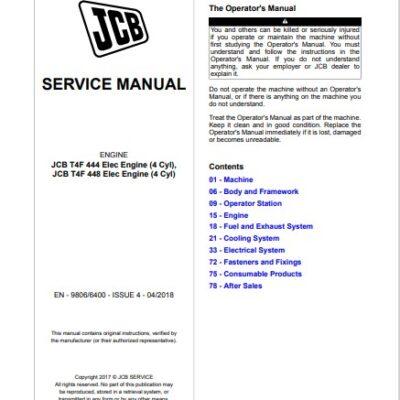 JCB T4F-444, T4F-448 Elec Engines Service Repair Manual