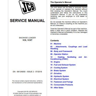 JCB 1CX, 1CXT Backhoe Loader Service Repair Manual