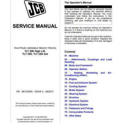 JCB TLT 30D High Lift, TLT 35D, TLT 35D 4×4 Teletruk Service Repair Manual