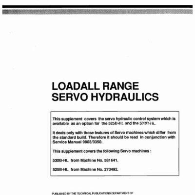 JCB 525B HL, 530B HL Loadall Range Service Repair Manual