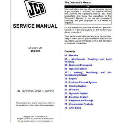 JCB 140 Excavator Service Repair Manual