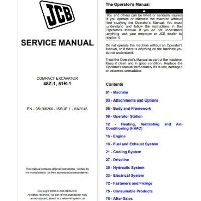 JCB 48Z-1, 51R-1 Compact Excavator Service Repair Manual