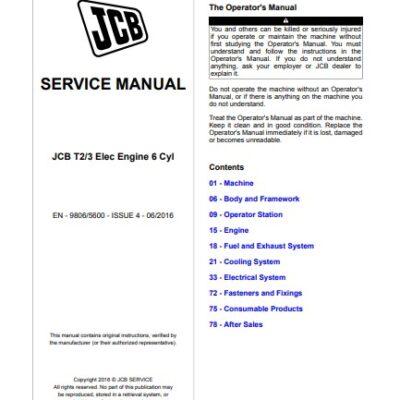 JCB T2 T3 Elec Engine 6 Cyl Service Repair Manual